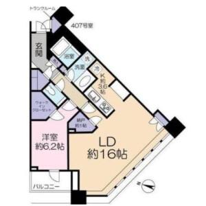 1LDK Mansion in Kamiosaki - Shinagawa-ku Floorplan
