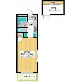 目黒區緑が丘-1K公寓 房間格局