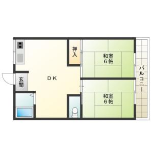 2DK Apartment in Kuwazu - Osaka-shi Higashisumiyoshi-ku Floorplan