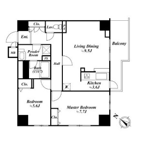 2LDK Apartment in Kamiosaki - Shinagawa-ku Floorplan