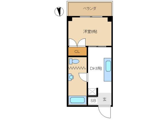 在豊岛区内租赁1DK 公寓大厦 的 楼层布局