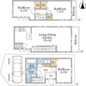 3LDK {building type} in Nakaikegami - Ota-ku Floorplan