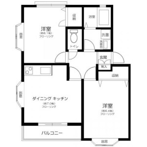 2DK Mansion in Higashicho - Koganei-shi Floorplan