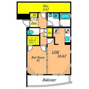 1LDK Apartment in Chuo - Ota-ku Floorplan