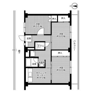 3DK Mansion in Fukudacho urada - Kurashiki-shi Floorplan