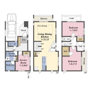 2LDK House in Aobadai - Meguro-ku Floorplan