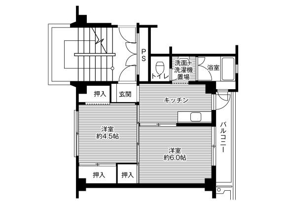 在一宮市内租赁2K 公寓大厦 的 楼层布局