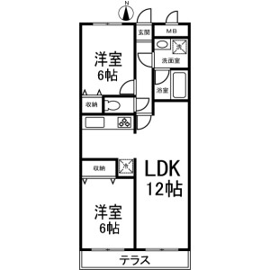 2LDK Mansion in Nishimagome - Ota-ku Floorplan