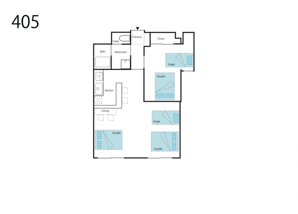 1LDK Apartment to Rent in Osaka-shi Naniwa-ku Floorplan