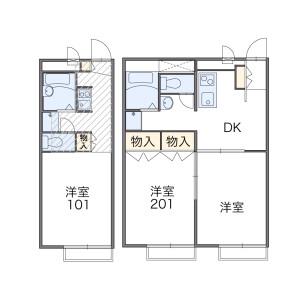 横浜市青葉区市ケ尾町-1K公寓 楼层布局