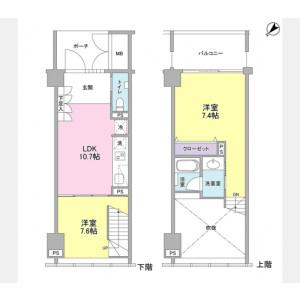 2LDK Mansion in Ginza - Chuo-ku Floorplan