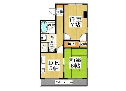 2DK Apartment to Rent in Kyoto-shi Ukyo-ku Floorplan