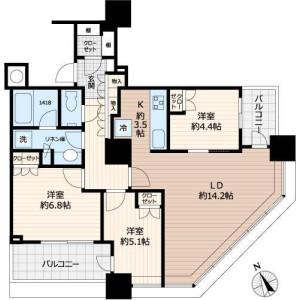 3LDK Mansion in Nishishinjuku - Shinjuku-ku Floorplan