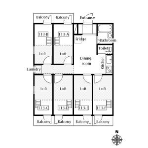 Princess Cabin Arakawa 荒川區 - 合租公寓 房間格局