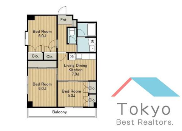 3LDK Apartment to Rent in Suginami-ku Floorplan