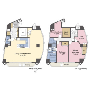 2SLDK Apartment in Roppongi - Minato-ku Floorplan