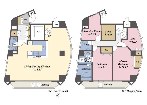 2SLDK Apartment to Buy in Minato-ku Floorplan