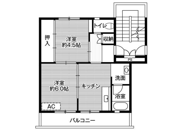 2DK Apartment to Rent in Kumamoto-shi Kita-ku Floorplan