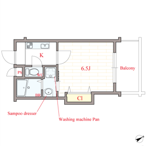 1K Mansion in Daido - Osaka-shi Tennoji-ku Floorplan