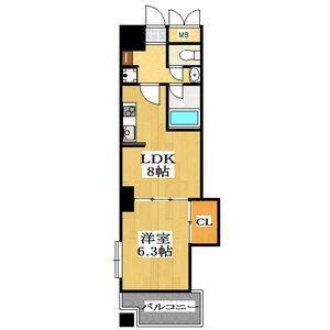 大阪市天王寺区上本町-2LDK公寓大厦 楼层布局