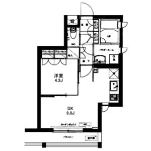 1DK Mansion in Azabudai - Minato-ku Floorplan
