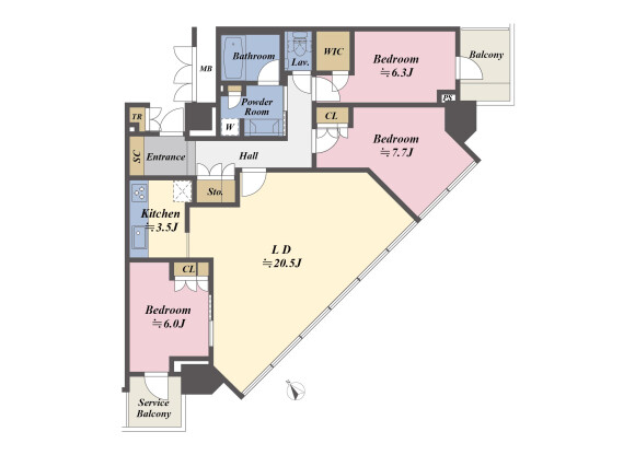 3LDK Apartment to Buy in Koto-ku Floorplan