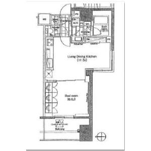 1LDK Apartment in Hirakawacho - Chiyoda-ku Floorplan