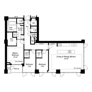 港区六本木-3LDK公寓 楼层布局