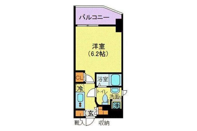 在Minato-ku内租赁1K 大厦式公寓 的 楼层布局