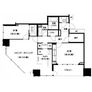 2LDK Mansion in Kinkocho - Yokohama-shi Kanagawa-ku Floorplan