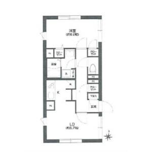 1LDK Mansion in Koyama - Shinagawa-ku Floorplan