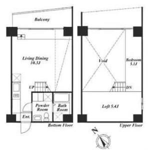 1LDK Apartment in Meguro - Meguro-ku Floorplan