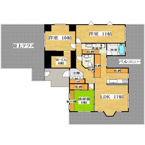 3LDK Mansion in Kawamata - Higashiosaka-shi Floorplan