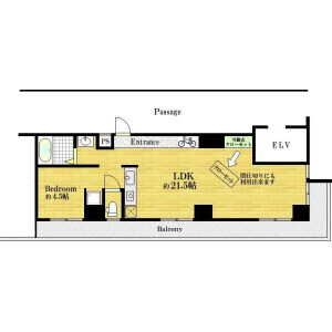 1LDK Apartment in Tammachi - Yokohama-shi Kanagawa-ku Floorplan