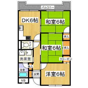 3DK Mansion in Yaogi higashi - Yao-shi Floorplan