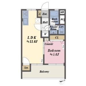 1LDK Apartment in Higashiyama - Meguro-ku Floorplan