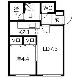 1LDK Mansion in Kikusui 4-jo - Sapporo-shi Shiroishi-ku Floorplan