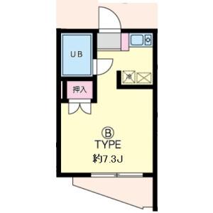 横浜市青葉区市ケ尾町-1R公寓大廈 房間格局