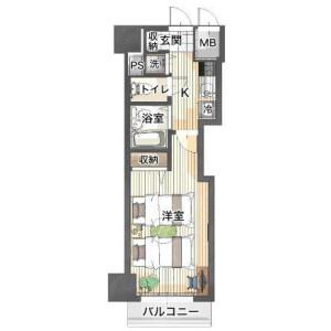 1K Apartment in Shinyokohama - Yokohama-shi Kohoku-ku Floorplan