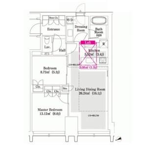 新宿区西新宿-2LDK公寓 楼层布局