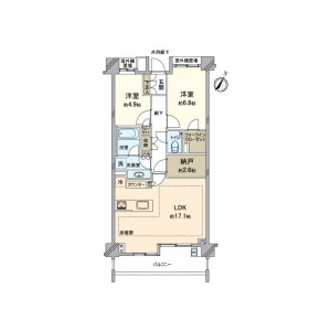 2LDK {building type} in Yakumo - Meguro-ku Floorplan