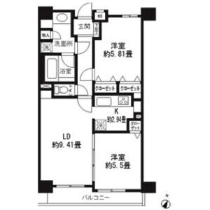2LDK Mansion in Sangenjaya - Setagaya-ku Floorplan
