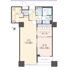 1SLDK {building type} in Ariake - Koto-ku Floorplan