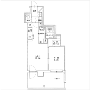 1LDK Apartment in Nishioguchi - Yokohama-shi Kanagawa-ku Floorplan