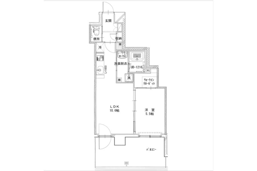 1LDK Apartment to Rent in Yokohama-shi Kanagawa-ku Floorplan