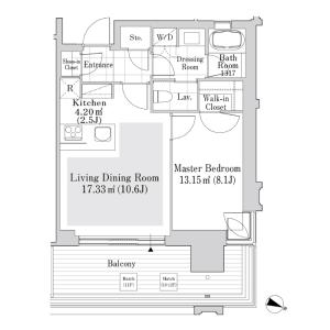 港區六本木-1LDK公寓大廈 房間格局