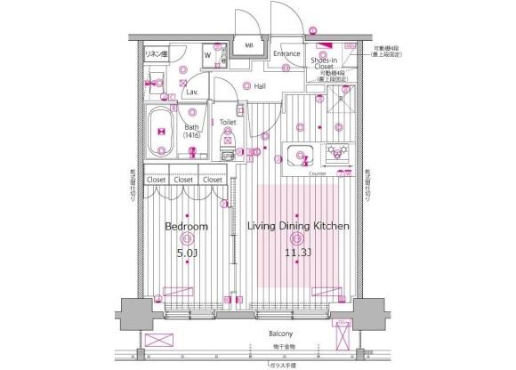 1LDK Apartment to Rent in Shibuya-ku Floorplan