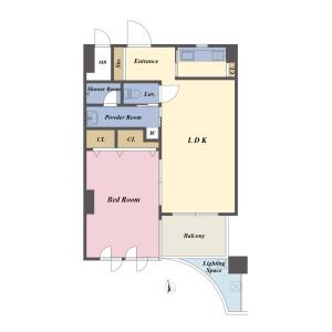 1LDK {building type} in Roppongi - Minato-ku Floorplan