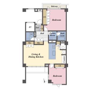 2LDK Apartment in Nishiazabu - Minato-ku Floorplan