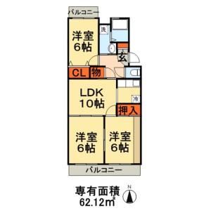 千葉市緑区おゆみ野中央-3LDK公寓大厦 楼层布局